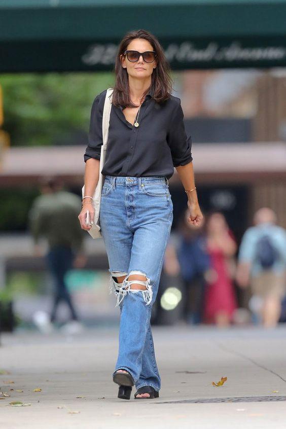 como usar jeans rasgado com elegância
