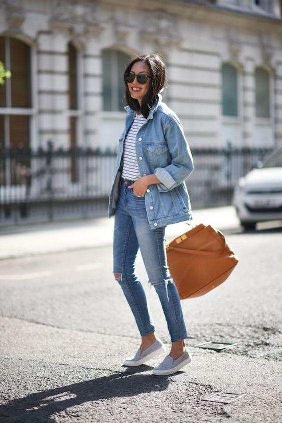 looks com jeans rasgado e tenis