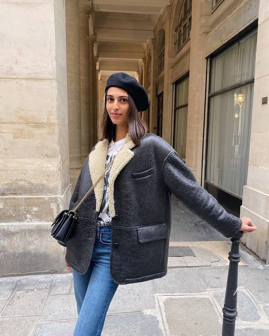 casaco de couro com pelinho