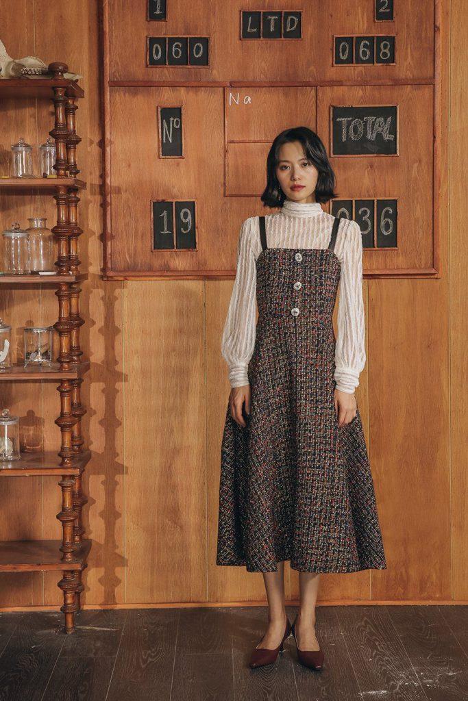 vestido de tweed inverno